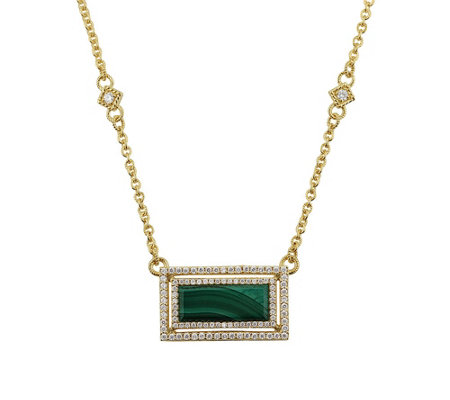 Judith Ripka Sterling & 14K Clad Malachite Diamonique Necklac
