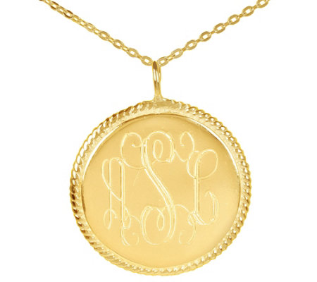 24K Plated Sterling Monogram Disc Pendant w/ Chain