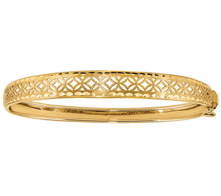 Italian Gold Flower Cutout Bangle 14K, 8.5g