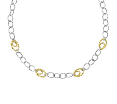 "Italian Gold 17"" Two-Tone Textured Necklace 14K, 7.8g"