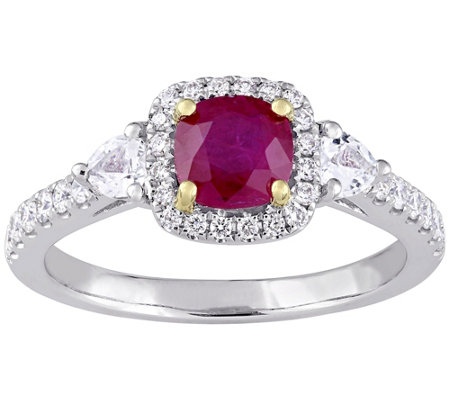 14K Gold 1.15 cttw Ruby & Diamond Three-Stone Halo Ring
