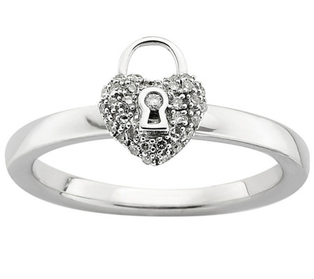 Simply Stacks Sterling Diamond Heart Lock Ring