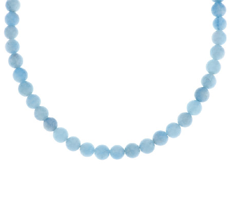 "190.00 ct Milky Aquamarine Bead Sterling 18"" Necklace"