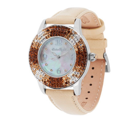 Chelsea Taylor Crystal Round Mother-of-Pearl Dial Leather Strap Watch