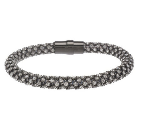 """As Is"" Italian Silver Sterling Average Crystal Magnetic Bracelet"