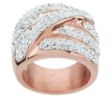 Stainless Steel 18K Rose Gold Electroplated Highway Crystal Wrap Ring
