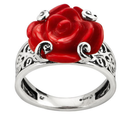 red product american carved rings coral sterling ring page qvc west rose com