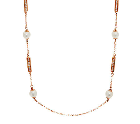"Honora Cultured Pearl 8.5mm 24"" Bronze Station Necklace"