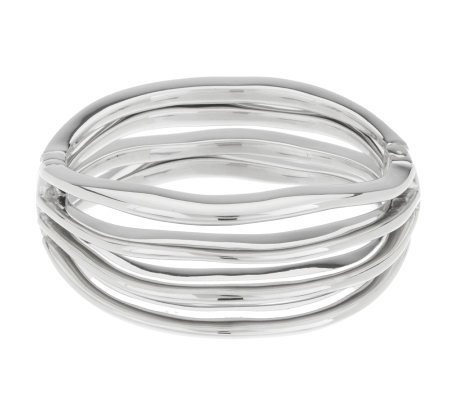 Vicenza Silver Sterling Average Bold Wave Design Hinged Bangle