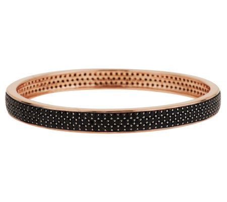 Bronze Large 12.00 ct tw Black Spinel Round Bangle by Bronzo Italia