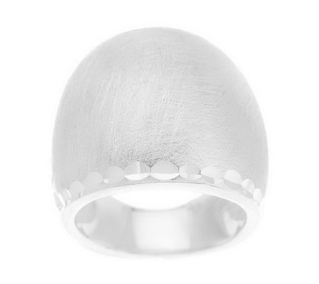 VicenzaSilver Sterling Bold Satin Finish & Diamond Cut Domed Ring