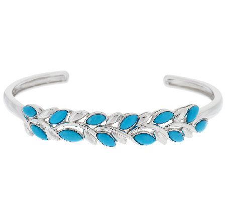 Sleeping Beauty Turquoise Leaf Design Sterling Bangle