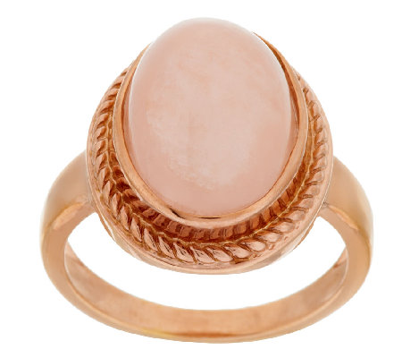 5.50ct tw Morganite Oval Cabachon Sterling/14K Ring