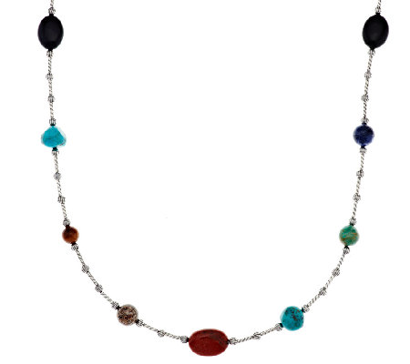 "Multi-Gemstone Bead 36"" Sterling Necklace by American West"