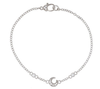 "Judith Ripka Sterling Diamonique Moon 9"" Anklet - J296047"