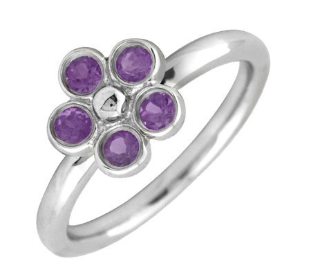 Simply Stacks Sterling & Amethyst Sweet FlowerRing