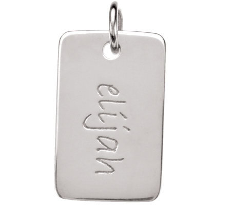 Posh Mommy Sterling Mini Dog Tag Pendant