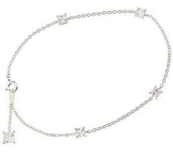 "Diamonique 10"" Ankle Bracelet, Platinum Clad - J300947"