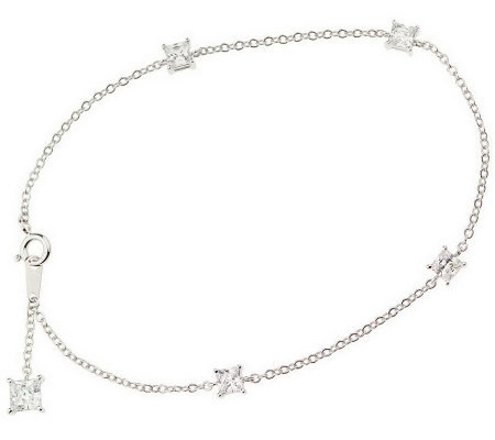 "Diamonique 10"" Ankle Bracelet, Platinum Clad"