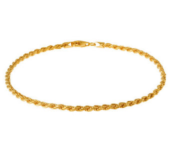 "Veronese 18K Clad 11"" Diamond-Cut Rope Chain Anklet - J302447"