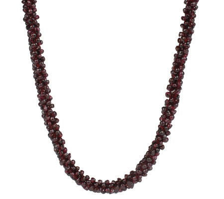 "Lee Sands Crocheted Garnet Nugget 34"" Necklace"