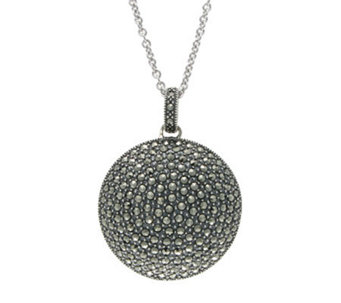 Suspicion Sterling Marcasite Domed Pendant withChain - J304347