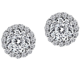 Diamonique 100-Facet Halo Stud Earrings, Platinum Clad - J304547