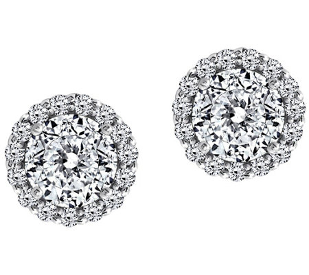 Diamonique 100-Facet Halo Stud Earrings, Platinum Clad