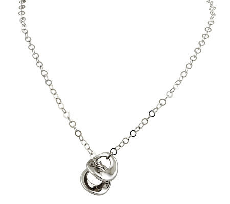 "Sterling 18"" Polished Circle Link Drop Necklace"