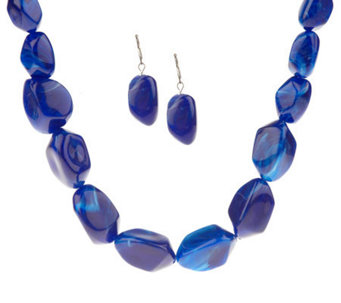 Bold Lucite Necklace & Earring Set by Garold Miller - J306647