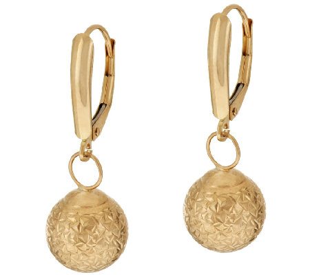 EternaGold Crystal Cut Lever Back Earrings 14K Gold