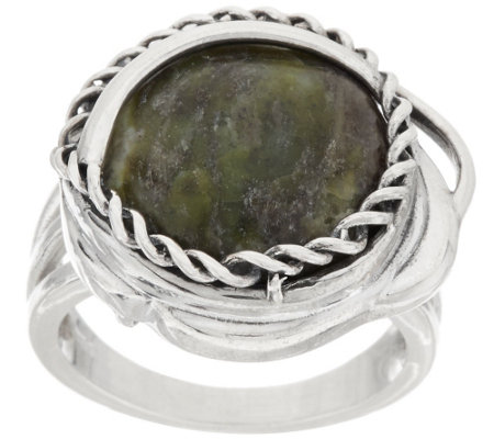 Connemara Marble Twisted Sterling Silver Ring