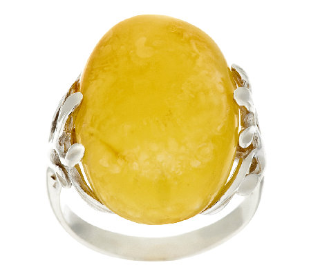 """As Is"" Artisan Crafted Sterling Royal Amber Oval Ring"
