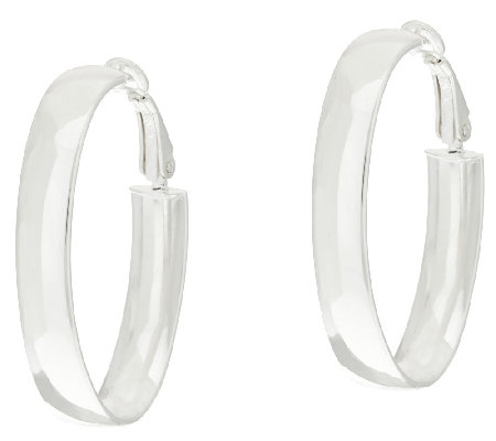 "Sterling Silver Oval 1-1/2"" Omega Back Hoop Earrings by Silver Style"