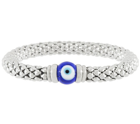 Stainless Steel Evil Eye Popcorn Stretch Bracelet