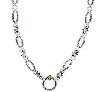 "Barbara Bixby Sterling & 18K 36"" Textured Link Necklace - J326347"