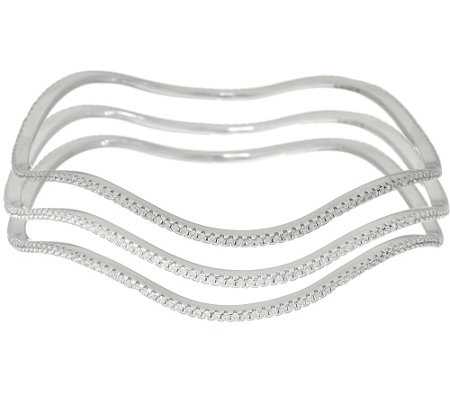 Diamonique Average Set of 3 Wavy Bangles Sterling