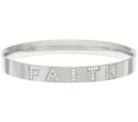 """As Is"" Stainless Steel Crystal Message Bangle"