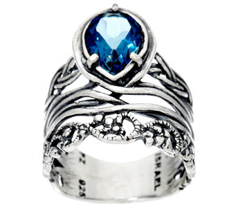 Sterling Silver Pear Shaped 1.00 ct Gemstone Band Ring by Or Paz - J326747