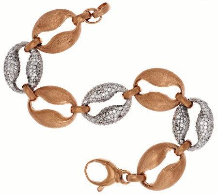 """As Is"" Bronze Crystal & Satin Marine Link Bracelet by Bronzo Italia"