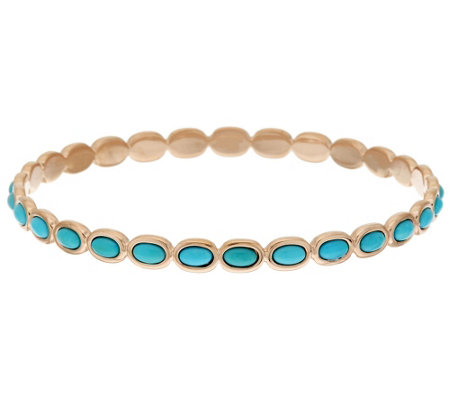 """As Is"" Bronzo Italia Turquoise Polished Round Bangle"