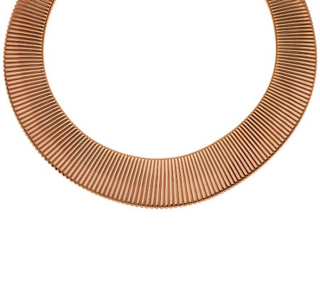 """As Is"" Bronze Bold Graduated Tubogas Necklace by Bronzo Italia"