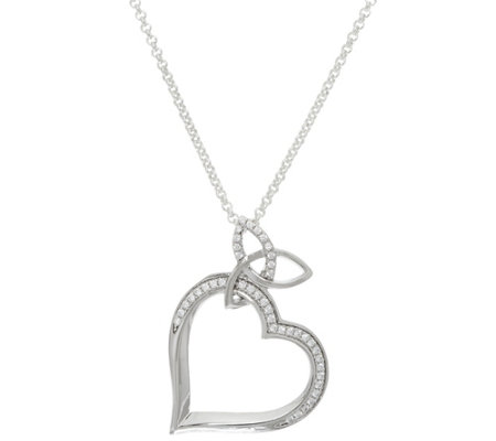 "Solvar Sterling Silver Trinity Knot Heart Pendant with 24"" Chain"