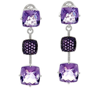 Judith Ripka Sterling Silver 11.0 cttw Amethyst Drop Earrings - J328747