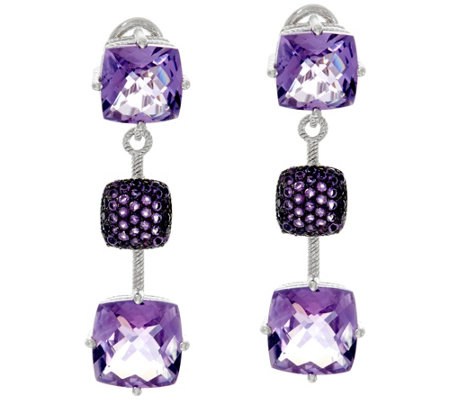 Judith Ripka Sterling Silver 11.0 cttw Amethyst Drop Earrings