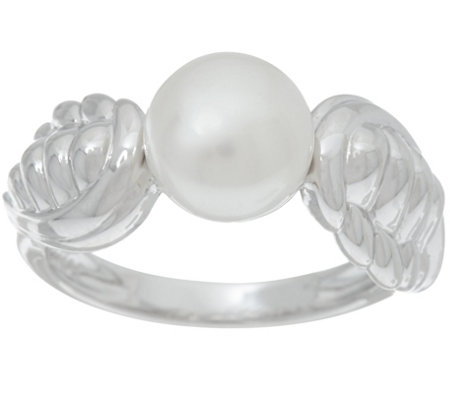 Honora Cultured Pearl 8.0mm Angel Wing Sterling Ring