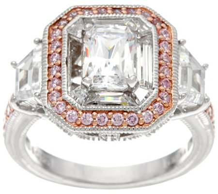 Diamonique Emerald Cut Ring w/ Pink Halo, Platinum Clad