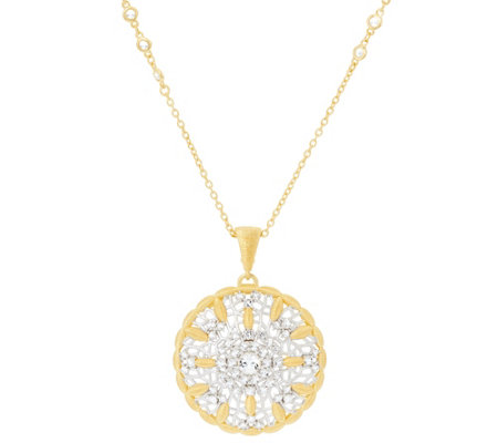 "Genesi 18K Clad White Topaz Enhancer w/ 30"" Chain, 21.0g"