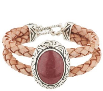 """As Is""American West Sterling Rhodonite Braided Leather Toggle Bracelet - J332747"