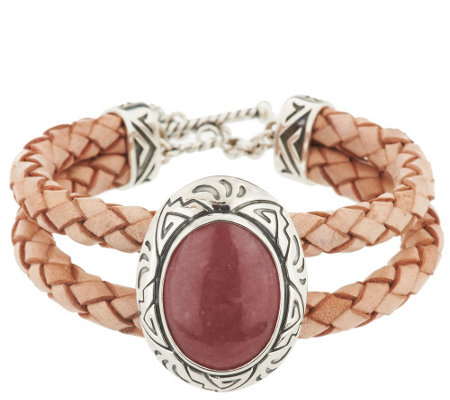 """As Is""American West Sterling Rhodonite Braided Leather Toggle Bracelet"